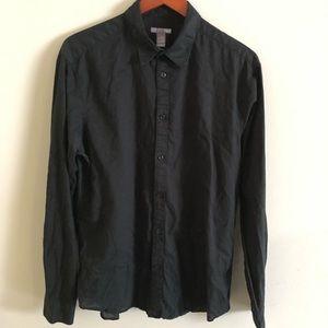H&M L black linen lightweight button-down shirt